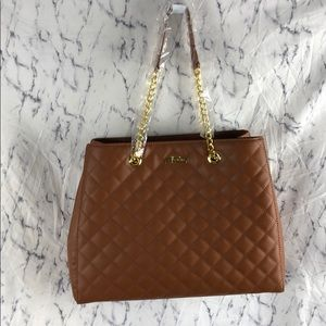 NWOT Joy and Iman Brown Quilted Leather Tote .